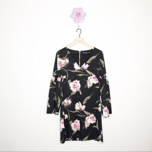 WHBM Long-Sleeve Floral Bell-Sleeve Shift …
